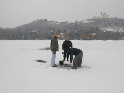 Kevéssertéjű férgek (nyálkaspórás alternatív gazdák) gyűjtése a jég alól a Balatonban